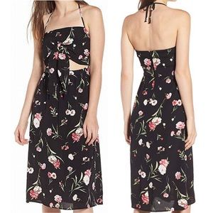 Rowa Black Midi Length Floral Print Sundress